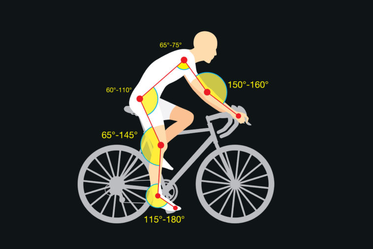 perth physio bike guideline of good angle of body to increase cycling quality and safety. this is called bike fit or bike fitting